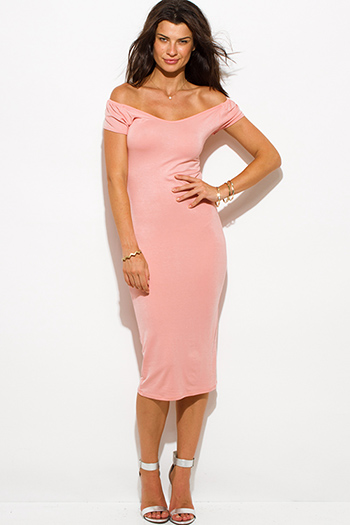 $15 - Cute cheap backless bejeweled dress - blush pink jersey cap sleeve off shoulder bodycon fitted midi dress