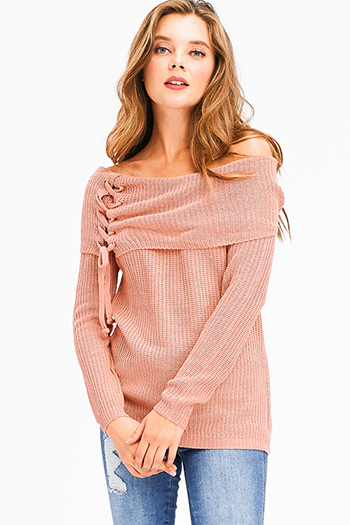 $20 - Cute cheap blue ruffle boho top - blush pink knit laceup off shoulder long sleeve boho sweater top