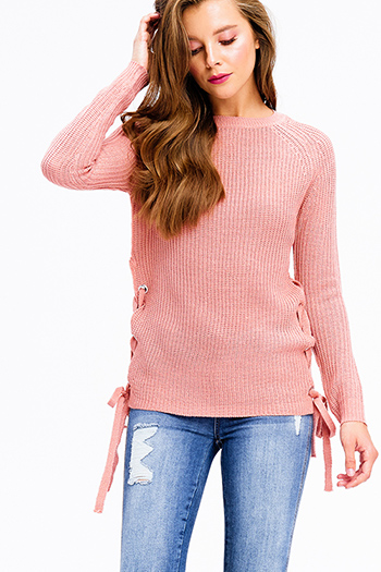 $20 - Cute cheap rust tan cotton crochet lace asymmetric hem sleeveless sexy party boho top - blush pink knit long sleeve cut out laceup side boho sweater top