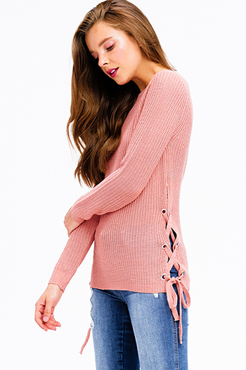 $20 - Cute cheap khaki beige ribbed sweater knit scoop neck rose print graphic long sleeve top - blush pink knit long sleeve cut out laceup side boho sweater top