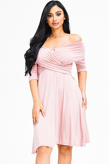 $15 - Cute cheap peach pink denim mid rise ripped knee skinny fit ankle jeans - blush pink rayon jersey wrap off shoulder half sleeve fit and flare sexy party mini dress