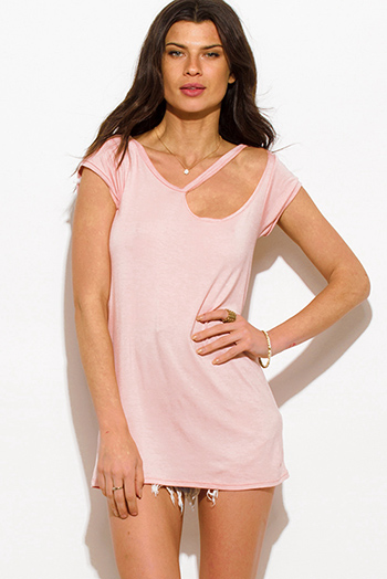 $15 - Cute cheap pink ruffle sexy party dress - blush pink ripped cut out neckline boyfriend tee shirt tunic mini dress
