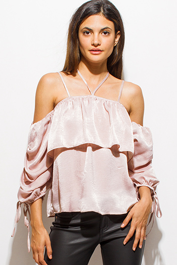 $15 - Cute cheap ruffle catsuit - dusty blush pink satin ruffle tiered long sleeve ruched cold shoulder sexy party top