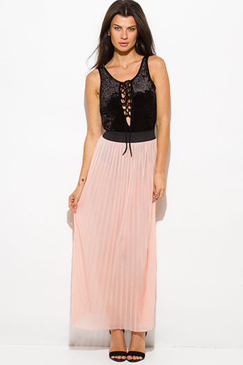 $15 - Cute cheap distressed mocha faux leather stripe banded waisted pleated sexy club mini skirt 88022 - blush pink sheer mesh tulle banded pleated evening party maxi skirt