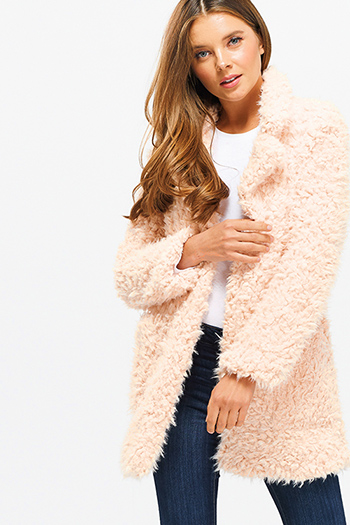 $35 - Cute cheap print fringe jacket - Blush pink sherpa fleece faux fur open front pocketed blazer duster coat jacket