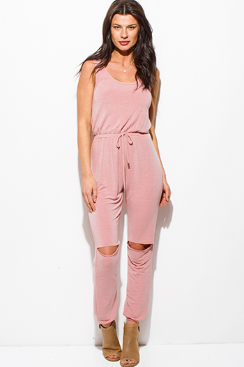 $20 - Cute cheap maroon pink jersey knit sleeveless fringe asymmetrical hem boho tank top - blush pink sleeveless knee cut out slit lounge harem jumpsuit
