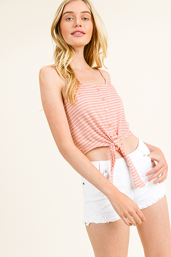 $8 - Cute cheap floral ruffle crop top - Blush pink striped spaghetti strap button trim tie front cami crop top