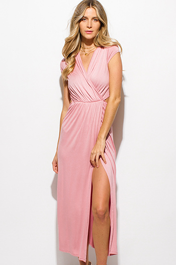 $15 - Cute cheap pink crochet sun dress - blush pink surplice faux wrap cap sleeve cut out ruched side slit maxi sun dress