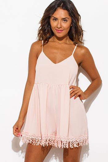 $15 - Cute cheap pink bodycon sexy party romper - blush pink textured chiffon spaghetti strap crochet lace fringe hem boho romper jumpsuit