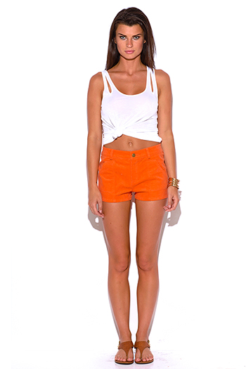 $5 - Cute cheap peach pink denim mid rise ripped knee skinny fit ankle jeans - bold orange mid rise corduroy shorts