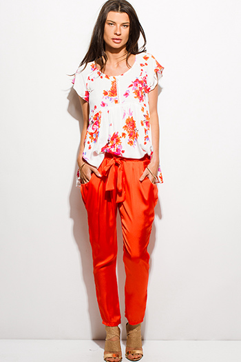 $10 - Cute cheap color orange dresses.html - orange pocketed tie front silky satin harem suiting pants