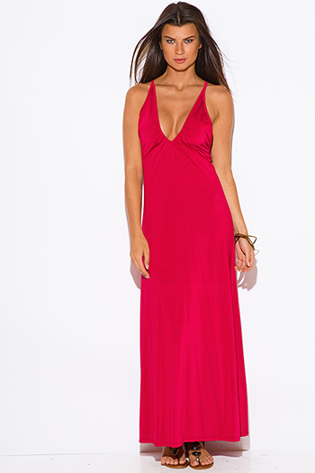$10 - Cute cheap red sheer dress - bold red deep v neck criss cross backless formal evening sexy party maxi dress