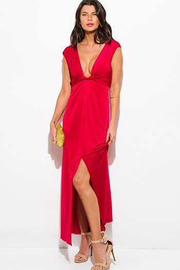 $15 - Cute cheap backless sexy club dress - red deep v neck knot high slit formal cocktail party evening maxi dress