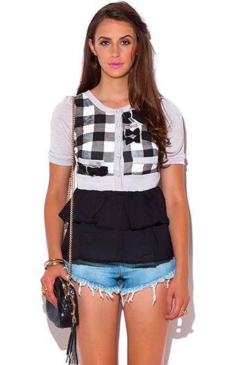 $3 - Cute cheap white sleeveless secretary blouse bow tie top - black gray checker plaid bow tie ruffle shoolgirl top