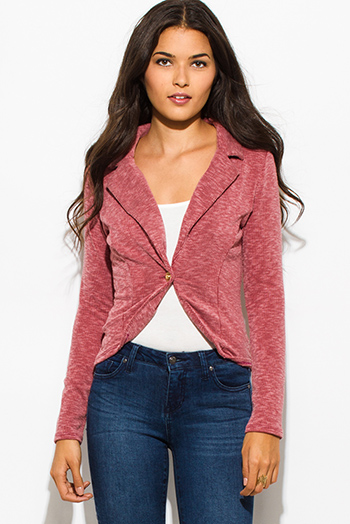 $10 - Cute cheap burgundy red multicolor ethnic print hooded pocketed button up duster cardigan jacket - brick red ribbed textured single button fitted blazer jacket top