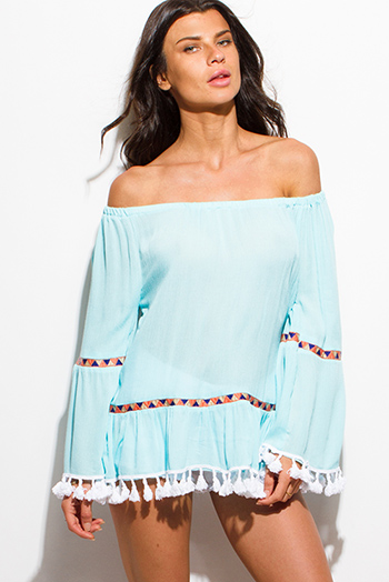 $15 - Cute cheap khaki blouse - bright aqua blue rayon gauze off shoulder bell sleeve tassel fringe boho blouse top