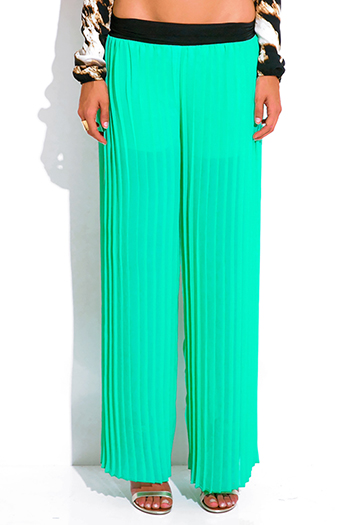 $10 - Cute cheap white chiffon wide leg pocketed palazzo pants - mint green pleated chiffon wide leg palazzo pants