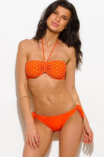 $12 - Cute cheap bright orange polka dot print bandeau retro halter bikini swimsuit set