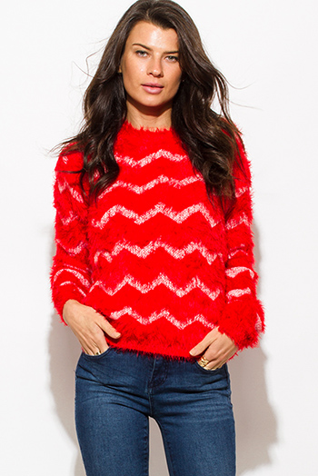 $15 - Cute cheap long sleeve catsuit - bright red chevron stripe textured long sleeve fuzzy sweater knit top