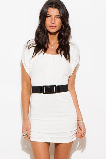 $10 - Cute cheap white ruffle mini dress - white drape dolman sleeve belted off shoulder fitted sexy club mini dress