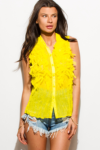 $8 - Cute cheap black semi sheer chiffon button up tunic blouse top - bright yellow crinkle chiffon fringe textured button up blouse tank top
