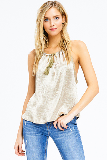 $15 - Cute cheap acid washed navy blue ribbed jersey knit boho tank top - bronze gold satin lace trim halter tassel tie racer back boho sexy party tank top