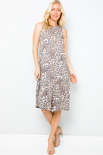 $35 - Cute cheap v neck cocktail dress - Brown animal cheetah print boho midi tank dress