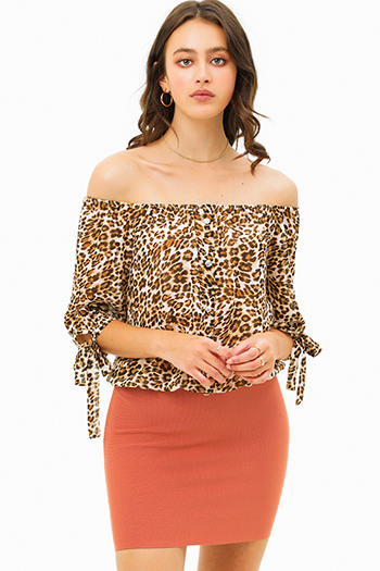 $20 - Cute cheap print blouse - Brown animal print chiffon off shoulder quarter tie sleeve button trim boho blouse top
