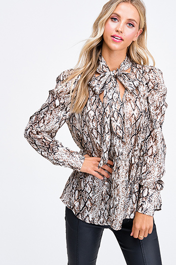 $35 - Cute cheap print kimono jumpsuit - Brown animal snake print gold metallic chiffon puff sleeve tie neck evening blouse top