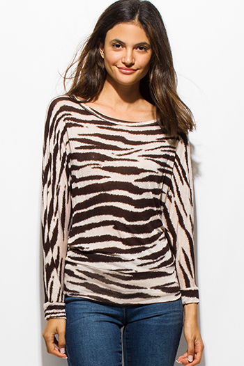 $15 - Cute cheap backless tank top - brown animal zebra print long dolman sleeve boat neck knit top