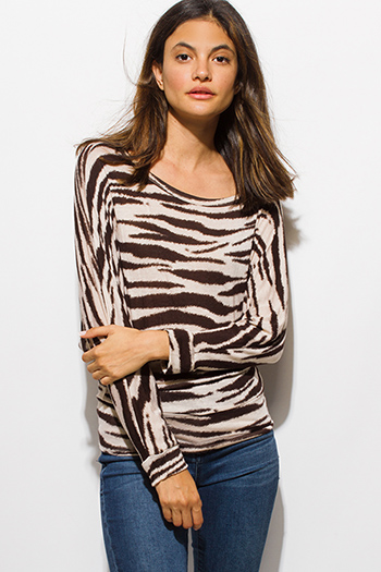 $10 - Cute cheap print sheer tank top - brown animal zebra print long dolman sleeve boat neck knit top