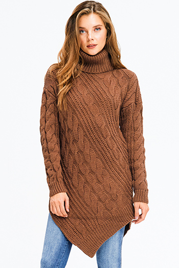 $20 - Cute cheap print boho sweater - brown cable knit turtle neck long sleeve asymmetric hem boho tunic sweater mini dress