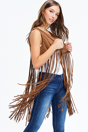 $15 - Cute cheap open back fitted sexy party catsuit - brown faux suede star applique fringe hem open front boho duster vest top