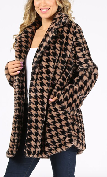 $35 - Cute cheap clothes - brown houndstooth print pocketed open front faux fur coat.