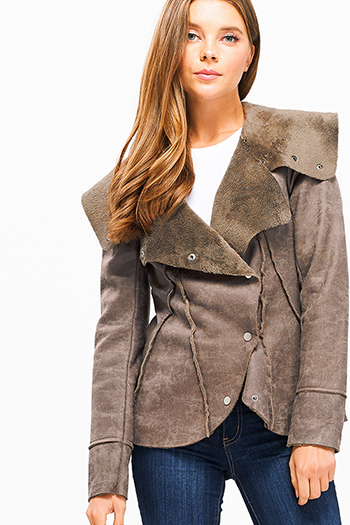 $35 - Cute cheap navu blue cut out back long sleeve blazer jacket - Brown long sleeve faux suede fleece faux fur lined button up coat jacket