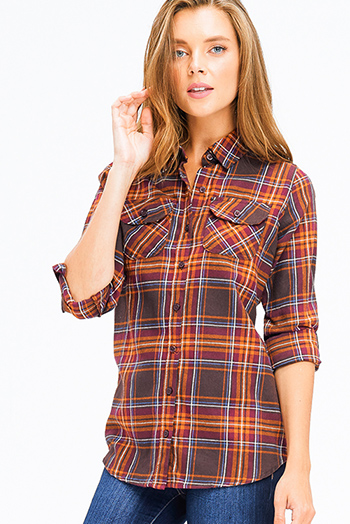 $15 - Cute cheap cold shoulder blouse - brown multicolor plaid flannel long sleeve button up blouse top
