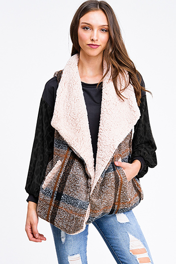 $25 - Cute cheap mocha taupe brown sweater knit fringe trim faux fur lined hooded boho poncho top - Brown plaid sherpa fleece lined draped lapel collar pocketed vest top