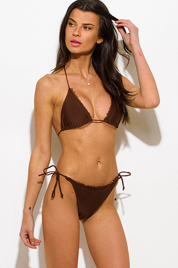 $10 - Cute cheap ruffle catsuit - brown ruffle trim halter tie side tie triangle bikini swimsuit set