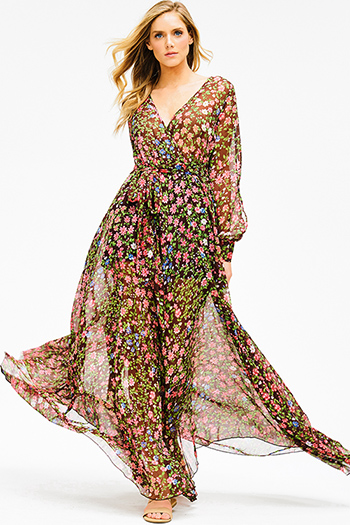 $40 - Cute cheap print dress - brown sheer chiffon floral print long slit blouson sleeve faux wrap formal evening sexy party maxi dress