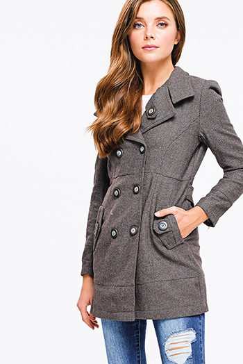 $15 - Cute cheap stone gray long sleeve exposed stitch zip up hooded pocketed boho jacket top - brown striped tweed long sleeve double breasted button up fitted peacoat jacket