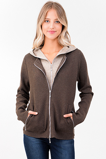 $25 - Cute cheap brown taupe beige knit layered double zipper hooded pocketed jacket top