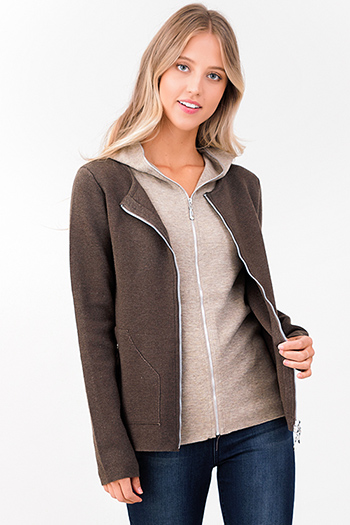 $13 - Cute cheap stone gray long sleeve exposed stitch zip up hooded pocketed boho jacket top - brown taupe beige knit layered double zipper hooded pocketed jacket top