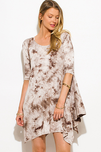 $15 - Cute cheap sheer boho mini dress - brown tie dye print quarter sleeve asymmetrical hem boho tunic mini dress