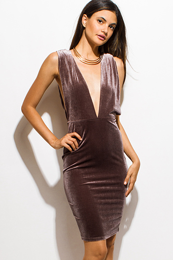 $15 - Cute cheap open back fitted midi dress - brown velvet deep v neck twist strap backless pencil fitted cocktail sexy party mini dress