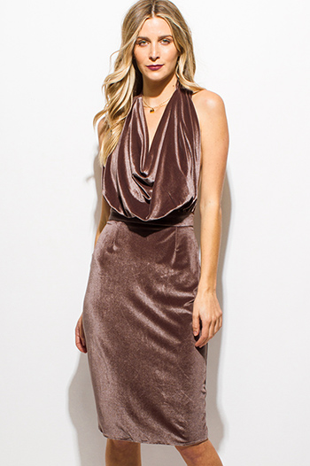$15 - Cute cheap caged bejeweled sexy club dress - brown velvet halter sleeveless drape cowl neck backless pencil cocktail party midi dress