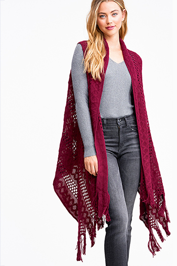 $12 - Cute cheap black ribbed knit surplice faux wrap long slit sleeve wrist tie boho top - Brugundy red crochet knit fringe hem open front boho sweater cardigan vest top