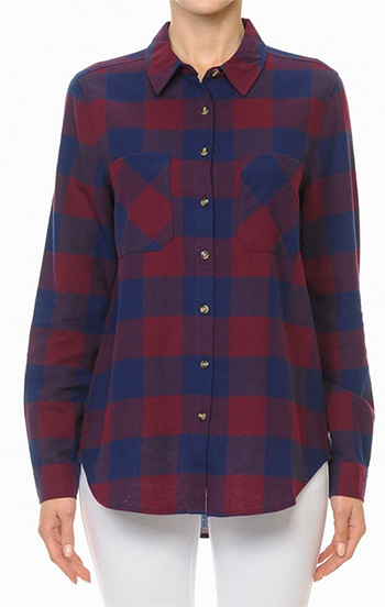 $15 - Cute cheap belted top - buffalo check plaid long sleeve button up flannel top