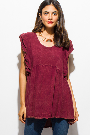$15 - Cute cheap print slit boho tunic - burgundy red acid wash ruffled flutter cap sleeve keyhole back boho tunic top
