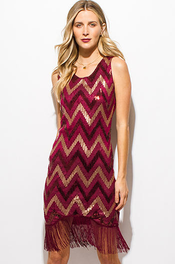 $10 - Cute cheap slit wrap sun dress - burgundy red and gold sequined chevron print sleeveless fringe trim sexy party mini dress