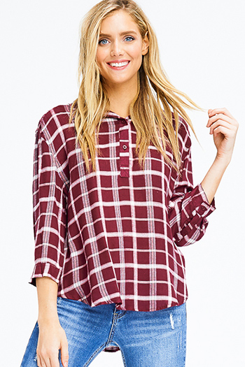 $12 - Cute cheap charcoal gray pinstripe off shoulder ruffle tiered sleeve boho blouse top - burgundy red checker plaid long sleeve button up boho blouse top